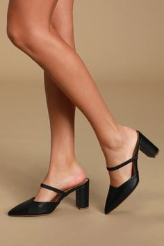 Cute Black Mules - Pointed-Toe Mules - Black Mule Pumps