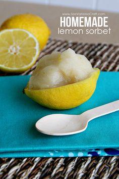 Homemade Lemon Sorbet via @Stephanie Close Ellison Vanessa Craft #12bloggers