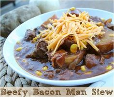 Beefy Bacon Man Stew is a slow cooker beef stew recipe that's sure to satisfy the heartiest of appetites, packed with stew meat, bacon, pota...