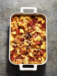 Onion, Bacon, and Mushroom Strata
