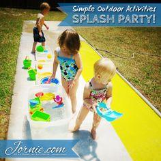 Kids exploring the outdoor water activites