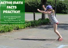 enchant homeschool, math fact, outdoor math games, chalk game, homeschool mom, math activities, activ math, movement game, kids reading