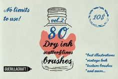Dry ink brushes VOL.2 scatter&lines by Guerillacraft on Creative Market