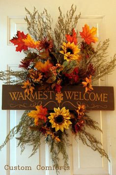 warm colors, door hangings, diy crafts, welcome signs, fall autumn, front doors, fall wreaths, fall porches, autumn wreaths