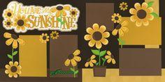 scrapbooking, scrapbooks, sunflowers, daisies, scrapbook layout