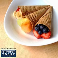 Instead of ice cream, fill an ice cream cone with fruit for a healthy snack on the go! #WeekendSnack #healthy