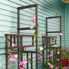 A unique DIY trellis that becomes even more beautiful when intertwined with climbing plants.