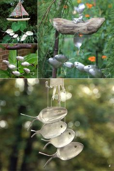 Cutlery Wind Chimes. I love the fish spoons. Thrift store spoons they don't have to match anyway. Very fun.