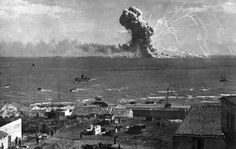 American transport SS Robert Rowan exploding after being hit by German Ju 88 bombers, Gela, Sicily, at about 1550 to 1555 hours on 11 Jul 1943. (US Army Signal Corps)