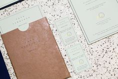 Menu with unbleached and green pastel paper and gold foil detail designed by Savvy for restaurant Casa Virginia