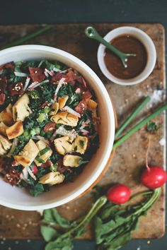 kale & sesame salad with scallion pancake croutons | my name is yeh