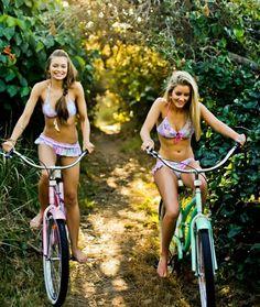 this reminds me of hilton head! bike riding in bikinis