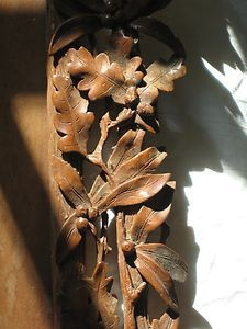 Antique Black Forest Carved Frame with Oak Leaves Acorns and Berries | eBay