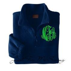Monogrammed Half-zip pullover jacket $29.99, via Etsy.