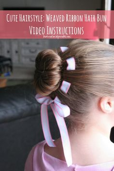 Cute Hairstyle: Flower Hair Bun with Weaved Ribbon - Video Instructions...