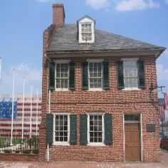 """""""The """"Star Spangled Banner"""" was made in this home by Mary Pickersgill of Baltimore.   Because of the size of this flag which was a battle flag to fly over Fort McHenry, Mary had to do it pieces and then lay it out from front to back of her home to get it put together.  This is a very charming home to visit."""""""