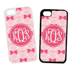 Monogrammed Pink Pearls And Bows Cell Phone Case