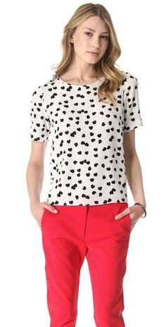 Click Image Above To Purchase: Tibi Scattered Hearts Silk Tee