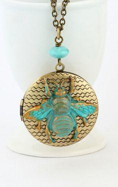 Bee Locket Necklace Brass Locket Etched Brass