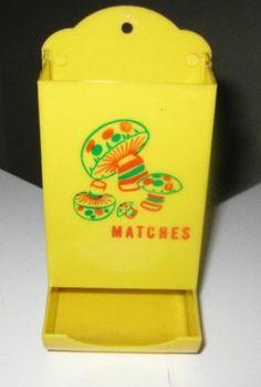 vintage mod 1970's merry MUSHROOM MATCH SAFE HOLDER HANGING