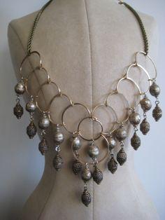 silver mala/ baroness brass bali drops necklace