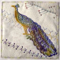 I ❤ crazy quilting & embroidery . . .  Fabric book page for Wendy. Wendy's theme is peacocks. I painted the white lace peacock with Ozecraft dye. Made a CQ background. ~By Ati, Norway