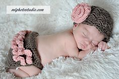 Vintage Inspired Flower Beanie and Ruffle Butt Diaper Cover in Taupe and Baby Pink Available in Newborn to 12 Months Size- MADE TO ORDER. $28.00, via Etsy.