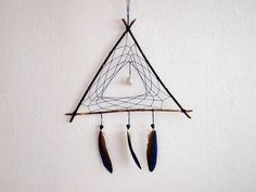 Dream Catcher - Triangle - With White Gemstone, Dark Blue Parrot Feathers, Blue Nett and Wooden Frame -