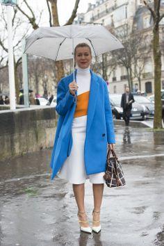 Natalie J wearing the TYPHOON pump at Paris Fashion Week