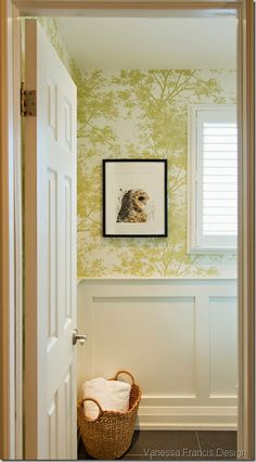 wallcovering and wainscoting- classic bathroom