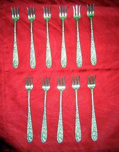 Antique Kirk Sterling Repousse Oyster Forks Set Of 11