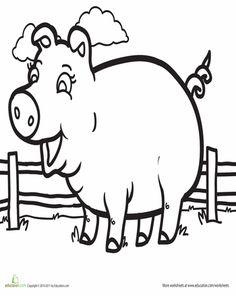 Worksheets: Pig Coloring Page