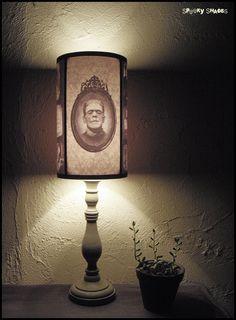 Frankensteins Bride lamp shade Lampshade - halloween decor, horror decor, horror movie, goth decor, damask lamp shade. €45.00, via Etsy.