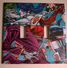 Light switch covers on pinterest comic books light for Harley quinn bedroom designs