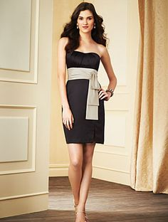 Alfred Angelo Bridesmaid Style 7283S in Black/Linen