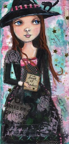 Witch Original Halloween painting by pinkglitterfae