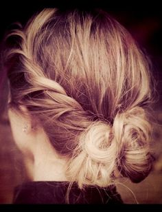 Give the messy bun a little makeover by twisting the sides and folding into the bun. ~ This hairstyle has become a new quick after-shower routine for me. I love it! <3 (: