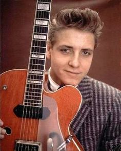 Eddie Cochran Poses with his Gretsch Guitar #EddieCochran #Rockabilly #Music #Rock http://zrockblog.com/eddie-cochran-poses-with-his-gretsch-guitar/