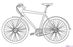 How to draw a bike bicycl, kid