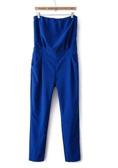 Blue Plain High Waist Cotton Blend Jumpsuit Pants
