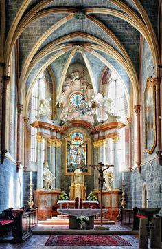 Interior of Franciscan Church, Bratislava, Slovakia.