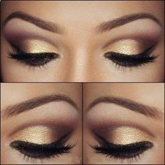 Pretty brown eye makeup with gold eyeshadow .