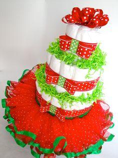 Christmas Diaper Cake - Festive Red & Green Tutu Christmas Baby Shower Diaper Cake Centerpiece - 3 Tier Christmas Diaper Cake. $65.00, via Etsy.