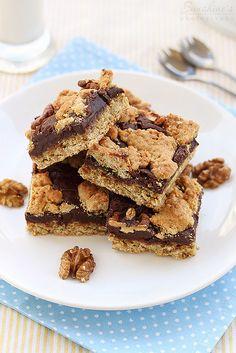 Sweet, dense, awesome Oatmeal Walnut Fudge Bars. #bars #food #oatmeal #dessert #chocolate #baking #walnuts