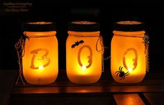 Halloween Mason Jar Luminarias - Got mason jars lying around?  Make these cute Mason Jar Luminarias out of them!  Love all the things that you can do with mason…