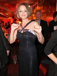 Jodie Foster, who delivered a personal, moving speech during the awards ceremony, let loose after receiving the Cecil B. DeMille lifetime achievement award. You go, girl!