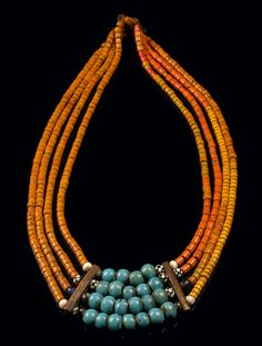 India | Necklace from Nagaland.  Glass beads, bone spacers on plant fiber thread | 250€ ~ sold