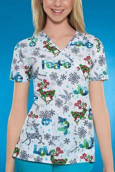 Peace and Joy Mock Wrap Scrub Top for #Christmas 2013 #uniforms