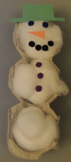 Egg Carton Snowman winter crafts for toddlers, winter craft for kids, egg carton crafts for toddlers, egg carton crafts for kids, egg kid carton art, egg carton kids crafts, craft for toddler, snowman craft, simple crafts for toddlers