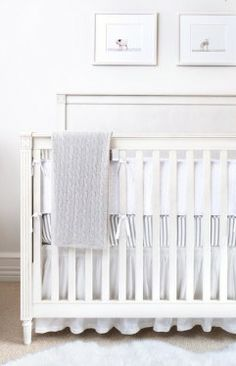 All white, gender neutral nursery décor.